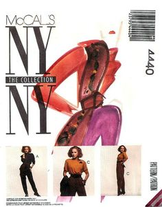 McCall's 4440 My Oh My Jumpsuit, Scarves & Belt 1988 Scarf Belt, Ny Ny, Ny Collection, Stitches, Sewing Patterns, Scarves, Jumpsuit, Best Deals, Fashion
