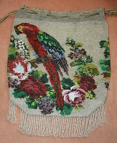 Macaw beaded bag