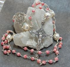 Renaissance Unbreakable Rosary in Sterling Silver Pink Rhodocrosite Wire Wrap by HeartFelt Rosaries