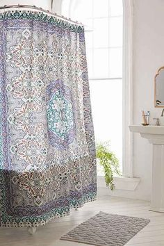 Plum & Bow Anza Tiled Medallion Shower Curtain - Urban Outfitters