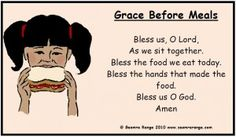 """images of meal prayers   Poster of the """"Grace Before Meals"""" prayer taught in primary ... Lunch Prayer, Food Prayer, Dinner Prayer, Meal Prayer, Simple Prayers, Mom Prayers, Prayers For Children, Young Children, Prayer Verses"""