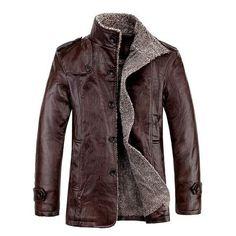 Winter Stand Collar Leather Jackets. Кожаные Пальто · Винтажная Кожа   Шерстяные Куртки  Шубы · Мужская Одежда ... f0ad7ff004a