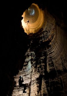 Caving in Green's Well, Alabama.  Part of the TAG cave system. (from NatGeo)