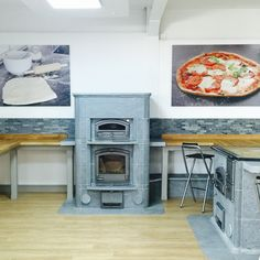 Tulikivi with bake oven on display in Tulikivi UK's showroom in South Cerney, Gloucestershire