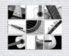 Black and White Vintage Acoustic Guitar Parts, Set of Nine Stretched Canvas prints, Music theme, guitar room, Music Decor