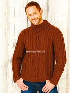 Cosy cable sweater FREE pattern, cable knit men's sweater in chestnut brown (hva)