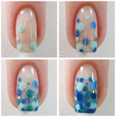 Wet Paint Sheer Tints in shades of blue Dot Nail Art, Polka Dot Nails, Blue Polka Dots, New Nail Designs, Nail Tutorials, Diy Nails, How To Feel Beautiful, Beauty Nails, How To Do Nails