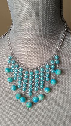 This item is unavailable Bib Necklaces, Beaded Necklace, Hanging Beads, Summer Necklace, Pearl Beads, Aqua Blue, Beautiful Necklaces, Seed Beads, Bridesmaids