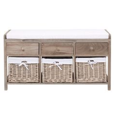 Wood and cotton storage bench W 103cm