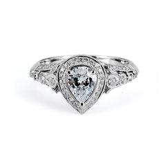 Brides.com: Unique Engagement Ring Settings. Style 135499, 18K white gold ring with 0.45 carats of diamonds 1 carat pear diamond center, $8,500, Supreme Jewelry See more pear-cut engagement rings.
