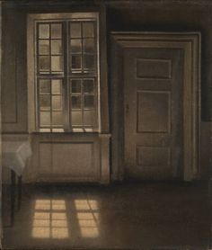 Vilhelm Hammershoi (1864‑1916).  Interior, Sunlight on the Floor,  1906,  Oil paint on canvas, 518 x 440 x 23 mm.  Collection Tate