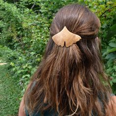 Ginkgo leaf barrettes $36.00 www.jemklein.etsy.com. Modeled by Sasha Rabin of www.earthenshelter.com