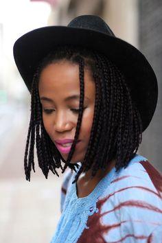 bob hair, bob box braids, black womens inspiration, hairstyle, afro hair, black girl