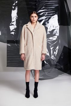 """FRANKIE COAT"" Made for women, by women, in all their glorious shapes and sizes and ages--founded in in Helsinki Finland © R/H Studio (quote) via rh-studio. Red Moon, Put On, Coats For Women, Fur Coat, Helsinki, High Neck Dress, Feminine, Classy, Finland"