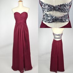 Sab...back looks pretty, I think its beading...Cheap New Style 2013 Strapless Sweetheart with Beading Chiffon Prom Dresses from 2013 New Dresses