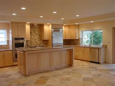 kitchen color schemes with maple cabinets | maple kitchen cabinet islet kitchen or kitchen island can be seen as ...
