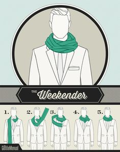 A scarf knot for The Weekender See also: Scarf knots for The Jet Setter, The Connoisseur, The Ivy Leaguer, The Sophisticate & The City Slicker. Ways To Tie Scarves, Ways To Wear A Scarf, How To Wear Scarves, Scarf Knots, Tie Knots, Men Tips, Men Style Tips, Mens Scarf Fashion, Latest Mens Wear