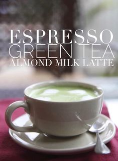 Green tea latte made with almond milk and espresso. This may seem like an unusual pairing at first, but in many parts of urban Asia, it's a popular delicious beverage choice. Now you can learn how to make this delicious blend at home. Kind of like a cappuccino but better.