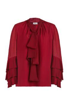 PRABAL GURUNG Tie Neck Blouse Size-inclusive designer luxury Plus-size fashion