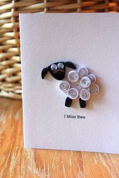 I Miss Ewe  Quilled Sheep Card  Unique by SweetSpotCardShop, $7.50
