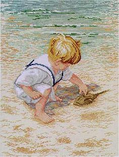 Boy With Horseshoe Crab Cross Stitch Kit by Janlynn