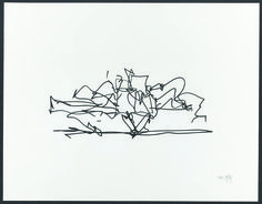 "Frank Gehry ""Marques De Riscal Winery"" 2009. 1-color lithograph.  Gehry makes sketches to begin his architectural process.  From sketches to models to finished buildings, his buildings are known for their playful, asymmetrical exteriors and their use of materials traditionally limited to industry."