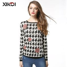 Autumn Casual Women Sweater Fashion O-Neck Floral Woman Sweaters Clothing Pullovers Knitted Full Ladies Pullover Clothes Fashion 2017, Trendy Fashion, Womens Fashion, Fashion Trends, Mommy Fashion, Formal Fashion, Style Fashion, Fashion Beauty, Fashion Inspiration