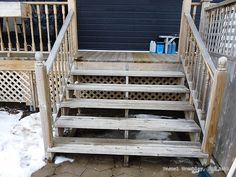 Build a Deck Stair - Terrace stair - Gallery Stair - Deck Plan Design and ideas Deck Stairs, Deck Railings, Porch Trim, Deck Framing, Stair Gallery, How To Build Steps, Deck Storage, Wooden Steps, Wrap Around Deck
