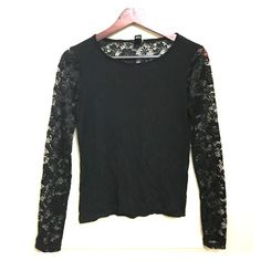 Forever 21 black long sleeve lace detailed top! Beautiful lace detailed long sleeve shirt. With lace half down the back for a low cut kinda faux look. EUC! Worn once. Prices always negotiable. Forever 21 Tops Blouses