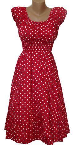 RED white Polka Dot dress Peasant Boho 50's pinup Retro Vintage Style