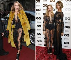 Cara Delevingne takes a tumble backstage at the GQ Awards 2014 after stunning in a sheer lace Burberry frock
