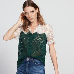 Two-tone lace top with striped details - Tops & Shirts - Sandro Paris All Fashion, Fashion Days, Sandro, Summer Cardigan, Cardigans For Women, Colorful Shirts, Ideias Fashion, My Style, Lace Shirts