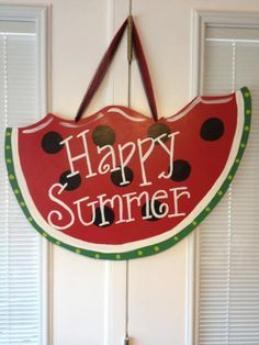 Watermelon wooden Door hanger by HangingWithHeather on Etsy, $30.00