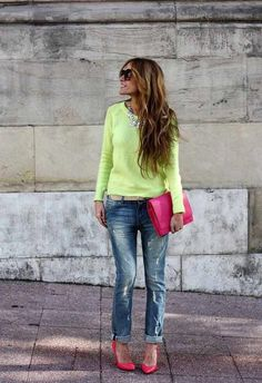 Busy days call for a simple yet stylish combination of a green-yellow crew-neck sweater and blue ripped boyfriend jeans. Add neon pink leather pumps to your look for an instant style upgrade.  Shop this look for $104:  http://lookastic.com/women/looks/pumps-boyfriend-jeans-belt-clutch-crew-neck-sweater-necklace-sunglasses/4306  — Neon Pink Leather Pumps  — Blue Ripped Boyfriend Jeans  — Tan Leather Belt  — Neon Pink Leather Clutch  — Green-Yellow Crew-neck Sweater  — Silver Necklace  — Dark…