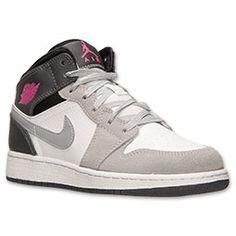Girls' Grade School Air Jordan 1 Mid Basketball Shoes| Finish Line | White/Hyper Pink/Wolf Grey
