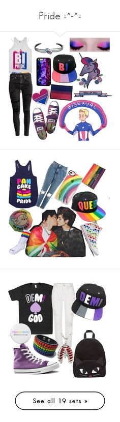 """Pride =^-^="" by back-to-black ❤ liked on Polyvore featuring H&M, Hot Topic, Topshop, Casetify, Lulu Guinness, River Island, Converse, Arco, Mother and Hello Kitty"