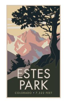 Estes Park Colorado Poster - Have you, or a friend, visited and hiked in Rocky Mountain Nation Estes Park Colorado, Skiing Colorado, National Park Posters, National Parks, Etsy Vintage, Vintage Ski, Vintage Stuff, Kunst Poster, Nature Drawing