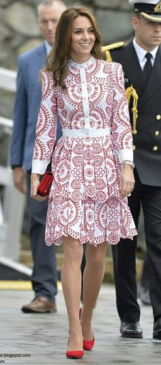 Red and white print shirtdress