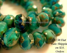 10 Green Turquoise Picasso Czech Fire Polished Faceted Rondelle Glass Beads - 8x6mm - 10 pc - G6041-PGT10
