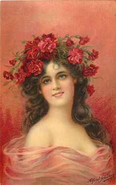 woman with red carnations on head, long brown hair, wears pinkish sheer dress