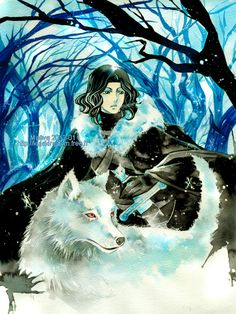 Maevachan, A Song of Ice and Fire, Ghost (Direwolf), Jon Snow, Fur, Bare Tree