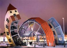 "At the Pacific View mall in Ventura, California, designer Dennis Oppenheim calls it ""the metamorphosis of a bus becoming a house """