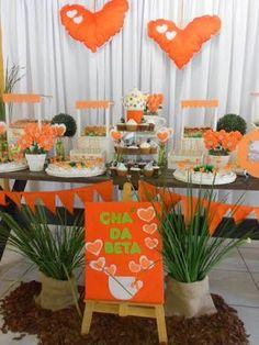 Resultado de imagem para decoração chá de panela laranja