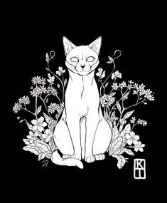 Pet commission with primroses, forget-me-nots and sweet peas Thank you for commissioning me! Dessin Old School, Arte Black, Black Cat Tattoos, Cat Tattoo Designs, Arte Sketchbook, Tattoo Flash Art, Desenho Tattoo, Cat Drawing, Ink Art