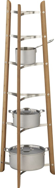 Bamboo Cookware Stand in Pot Racks | Crate and Barrel