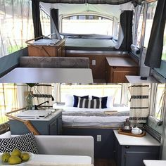 I've been cruising through the decades with these tent trailer remodels! My first trailer was from the then the and now the latest is a Popup Camper Remodel, Diy Camper Trailer, Trailer Tent, Pop Up Trailer, Camper Renovation, Camper Hacks, Rv Living, Tiny Living, Camper Makeover