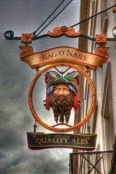 Bag o' nails pub, london, england pub signs, store signs, pub Storefront Signs, Old Pub, British Pub, Pub Signs, London Pubs, London Calling, Business Signs, Store Signs, Advertising Signs