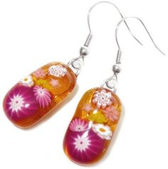 Amber-yellow and fuchsia handmade glassbeads on sterling silver earrings
