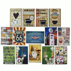 Retro Mix Jamaica Blue Mountain Fine Coffee Route 66 Cafe Paris Italia Hotdog Best Homemade Pizza Burgers Beers Coffees of Colombia Mexican Food Premium Motor Tin Art Wall Decor  Resellers welcome. Subcribe to our mailing list for updates on new items.
