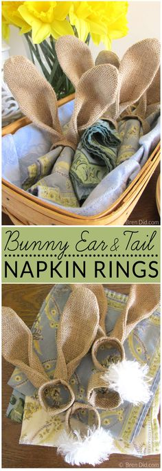 DIY Bunny Ears Napkin Rings for $0.40- Easy burlap bunny ear napkin rings add a cute Easter touch to your table! Complete the set with easy bunny tail napkin rings. The easy Easter napkin rings give you Pottery Barn style at a fraction of the price.